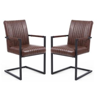 An Image of Dewall Cantilever Chair In Brown With Black Frame In A Pair