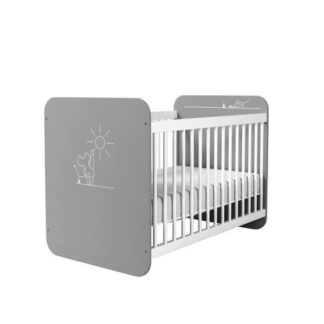 An Image of Kelby Wooden Cot Bed In Pearl White And Grey With Bars