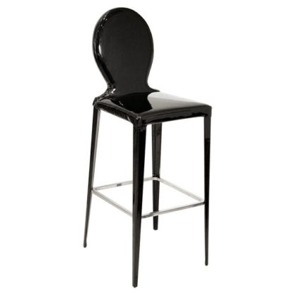 An Image of Tequila Black PVC Bar Stool With Metal Foot Rest