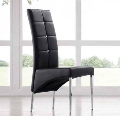 An Image of Vesta Studded Faux Leather Dining Room Chair in Black