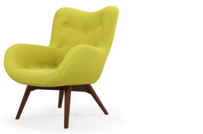 An Image of Custom MADE Doris Accent Armchair, Shetland Moss with Dark Wood Legs