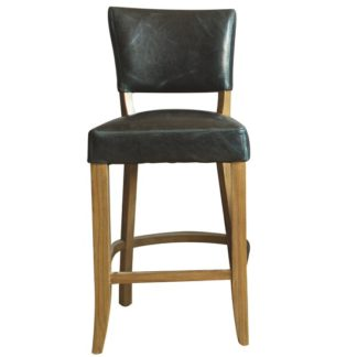An Image of Epping PU Leather Bar Chair In Ink Blue With Wooden Frame