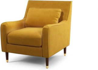 An Image of Content by Terence Conran Oksana Armchair, Plush Tumeric Velvet with Dark Wood Brass Leg