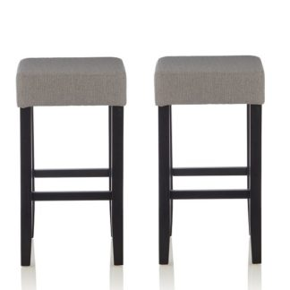 An Image of Newark Bar Stools In Light Grey Fabric And Black Legs In A Pair
