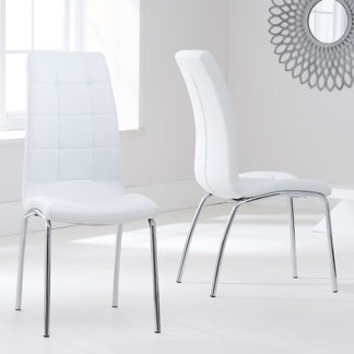 An Image of Grus White Leather Dining Chairs In Pair