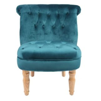 An Image of Carlos Boudoir Style Chair In Teal Fabric With Linen Effect