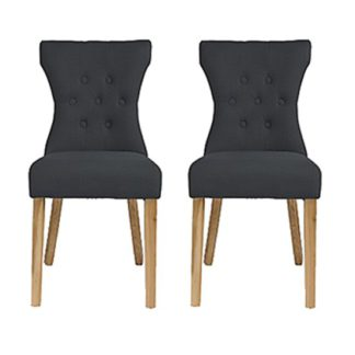 An Image of Optro Grey Fabric Dining Chairs In Pair