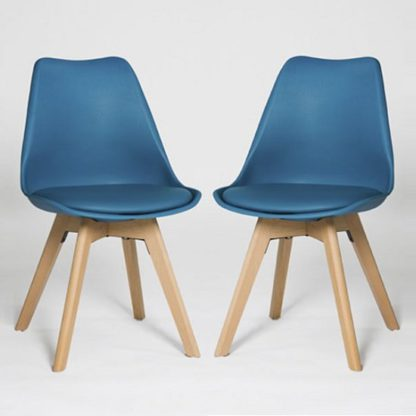An Image of Regis Dining Chair In Blue With Wooden Legs In A Pair