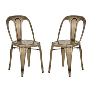 An Image of Dschubba Brass Metal Dining Chairs In Pair
