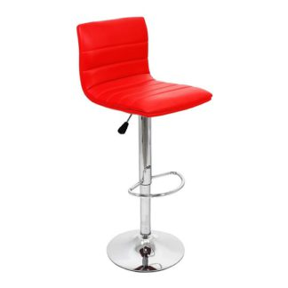 An Image of Ribble Red Faux Leather Bar Stool With Chrome Base