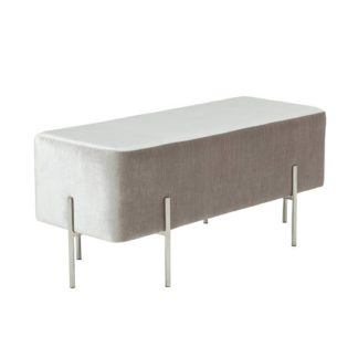 An Image of Ryman Bench In Grey Velvet And Polished Stainless Steel