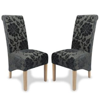 An Image of Arora Dining Chair In Charcoal Fabric With Oak Legs In A Pair