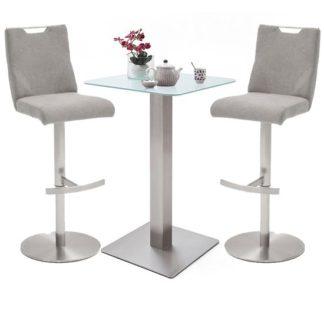 An Image of Soho White Glass Bar Table With 2 Jiulia Ice Grey Fabric Stools