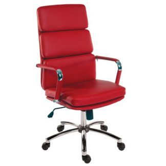 An Image of Deco Retro Eames Style Executive Office Chair In Red
