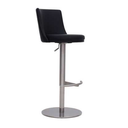 An Image of Fabio Bar Stools In Black PU And Brushed Stainless Steel Base