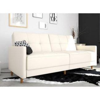 An Image of Andora Leather Sprung Sofa Bed In White With Wooden Legs