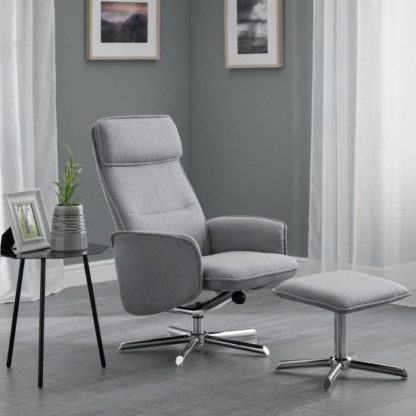 An Image of Alden Fabric Recliner Chair With Foot Stool In Grey Linen