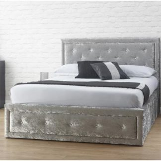 An Image of Hollywood Crushed Velvet Ottoman King Size Bed In Silver