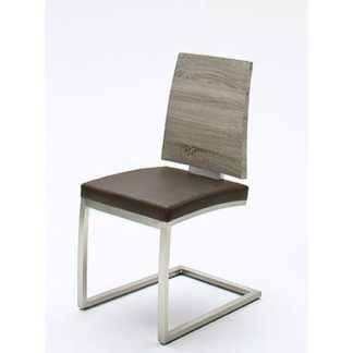 An Image of Barbuda Oak Effect Wood And Pu Leather Dining Chair