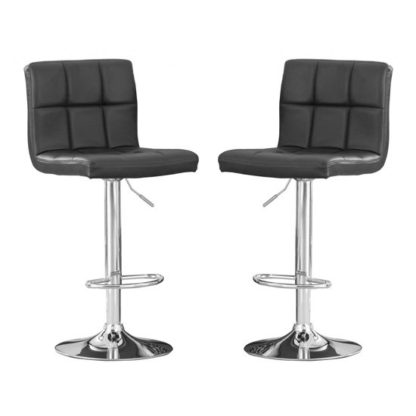 An Image of Cubik Black Faux Leather Bar Stools In Pair With Chrome Base