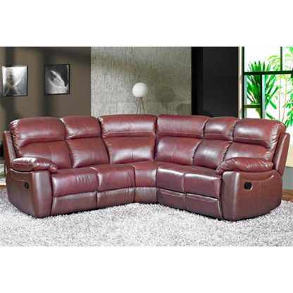 An Image of Aston Leather Corner Recliner Sofa In Chestnut