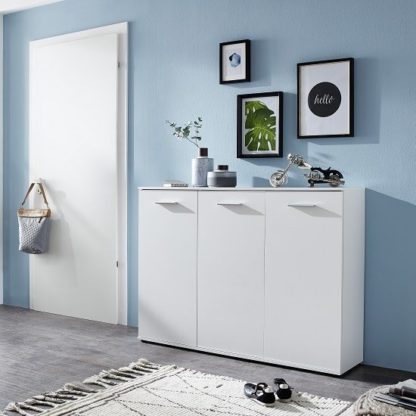 An Image of Casey Modern Shoe Storage Cabinet In White With 3 Doors