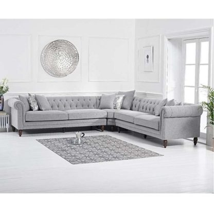 An Image of Bodgers Chesterfield Corner Sofa In Linen Grey With Wood Feet