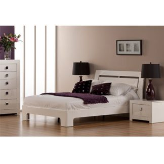 An Image of Bari High Gloss Double Bed in White