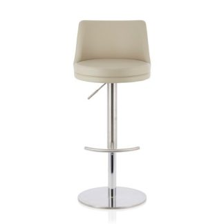 An Image of Niven Bar Stool In Beige Faux Leather And Stainless Steel Base