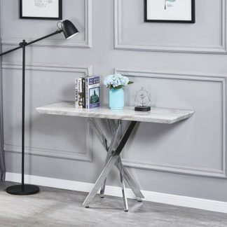 An Image of Deltino Grey Marble Effect Console Table With Chrome Legs