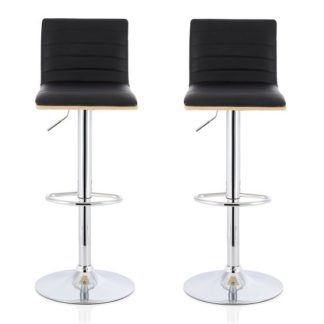 An Image of Morsun Bar Stools In Oak And Black PU In A Pair