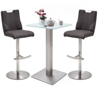 An Image of Soho White Glass Bar Table With 2 Jiulia Anthracite Stools