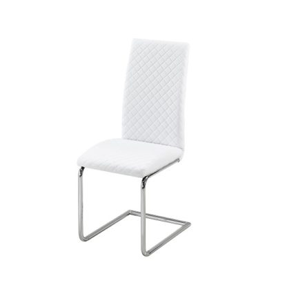 An Image of Ronn Dining Chair In White Faux Leather With Chrome Legs