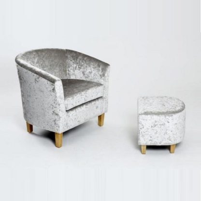 An Image of Brisk Tub Chair With Stool In Crushed Velvet Silver