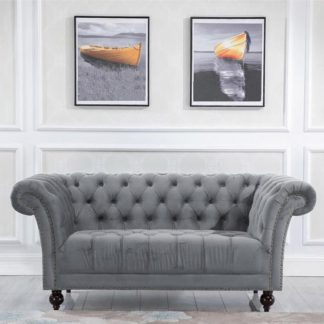 An Image of Chester Fabric 2 Seater Sofa In Midnight Grey