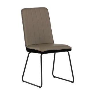 An Image of Greco Dining Chair In Taupe Faux Leather And Black Velvet