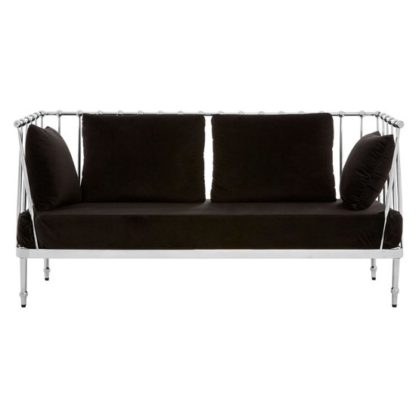 An Image of Kurhah 2 Seater Sofa In Black With Silver Finish Tapered Arms