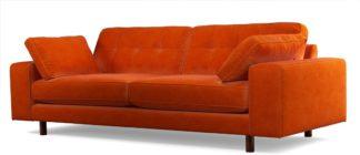 An Image of Content by Terence Conran Tobias, 3 Seater Sofa, Plush Paprika Velvet, Dark Wood Leg