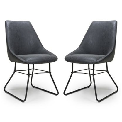 An Image of Cooper Wax Grey Faux Leather Dining Chair In A Pair