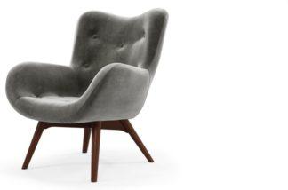 An Image of Custom MADE Doris Accent Armchair, Steel Grey Velvet with Dark Wood Legs