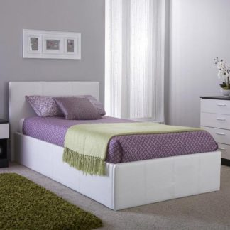 An Image of Side Lift Ottoman Faux Leather Small Double Bed In White