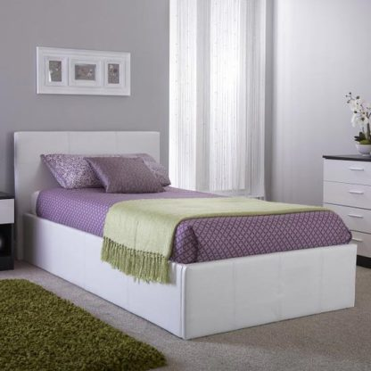 An Image of Side Lift Ottoman Faux Leather Single Bed In White