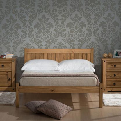An Image of Rio Wooden Double Bed In Waxed Pine