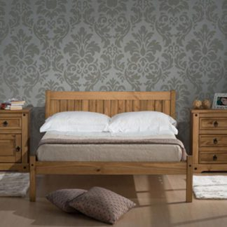 An Image of Rio Wooden Small Double Bed In Waxed Pine