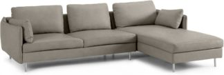 An Image of Vento 3 Seater Right Hand Facing Chaise End Sofa, Pale Putty Leather