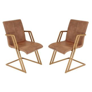 An Image of Australis Brown Leather Chair With Angular Iron Frame In Pair