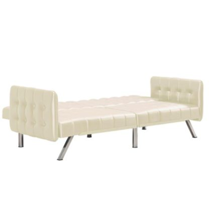 An Image of Emily Leather Convertible Clic Clac Sofa bed In Vanilla