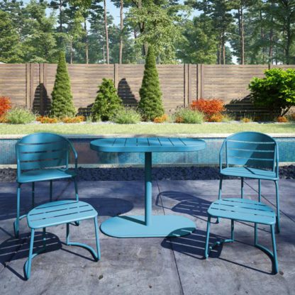 An Image of Cosco Steel Set Of 5 Patio Bistro Set In Turquoise