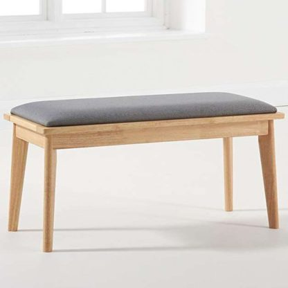 An Image of Mahsati Wooden Dining Bench In Oak And Grey With Cushion Seat