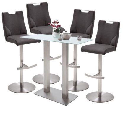 An Image of Soho White Glass Bar Table With 4 Jiulia Anthracite Stools